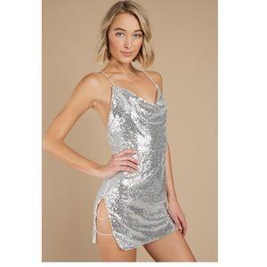 Tobi Silver Sequin Dress